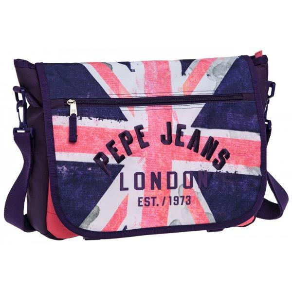 Geanta de laptop Pepe Jeans Bonny Girl 38 cm 1 compartiment principal buzunar exterior inchidere cu fermoar bareta ajustabila de cca 80 cm imprimeu british flag
