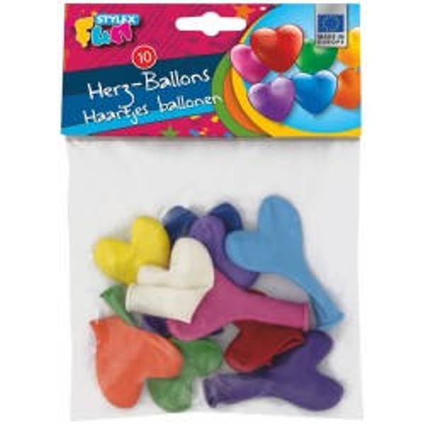 Set 10 baloane inima culori diverseCircumferinta baloanelor dupa umflare 16 cm