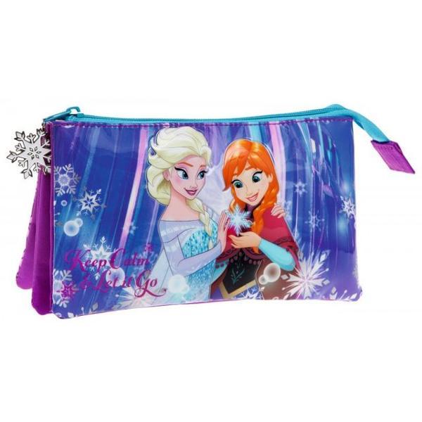 Penar 22 cm 3 compartimente Frozen Keep Calm - culoare mov & albastru cu imprimeu personaje Elsa & Anna material microfibra  piele ecologica  PVC 3 compartimente dimensiune 22x12x5 cmSpecificatiip classchtitle