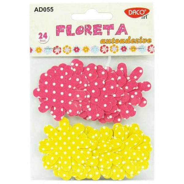 24 bucati flori textile;dimensiuni aprox 5 cm