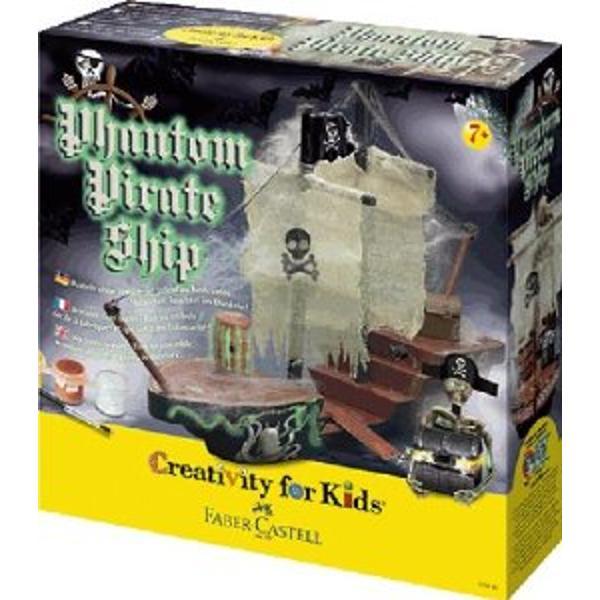 180846 Set Creativity Corabia Piratilor Faber-CastellSet pentru a reproduce nava din lemn cea sinistra a piratilor scheletul de vele si comorileContinut 13 piese din lemn pentru fabricarea modelului 355 x10 7 cm 2 vele