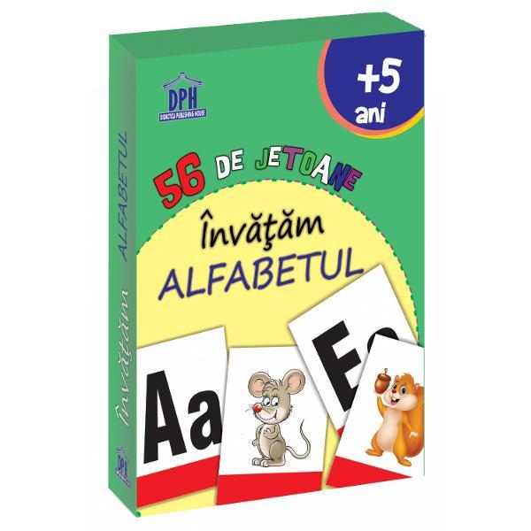 Jocul con&539;ine 56 de jetoane cu literele alfabetului &537;i imagini Copilul se poate juca singur cu familia sau împreun&259; cu prietenii JOC Ne juc&259;m &537;i ALFABETUL înv&259;&539;&259;m Se împart jetoanele în dou&259; grupe imagini &537;i litere iar copilulcopiii care particip&259; la joc trebuie s&259; extrag&259; o imagine &537;i s&259; g&259;seasc&259;