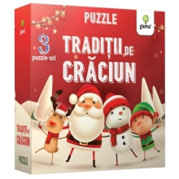 Cutia con&539;ine o carte &537;i trei puzzle-uri despre s&259;rb&259;torile de iarn&259; cu grade diferite de dificultate u&537;or de diferen&539;iat datorit&259; modelului de pe verso Alterna&539;i rezolvarea puzzle-urilor cu activit&259;&539;ile din carte pentru a-i completa copilului experien&539;a de înv&259;&539;are &537;i pentru a intra împreun&259; în atmosfera magic&259; a Cr&259;ciunului