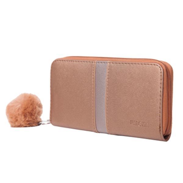 Portofel de dama inchis cu fermoar La interior portofelul are 3 compartimente si un buzunar cu fermoar pentru monede Tot la interior portofelul are 8 buzunare speciale pentru carduri carti de vizita etc
