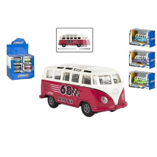 Microbuz VW diecast cu frictiune4 culoiri diferite