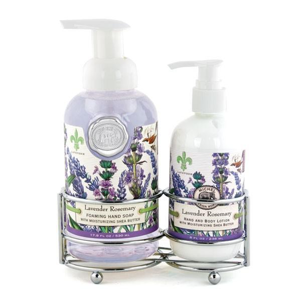 Set sapun lichid si crema de maini in suport metalic Aromalavanda si rozmarinSapun lichid spumaSapunul contine aloe vera si este imbogatit cu unt de