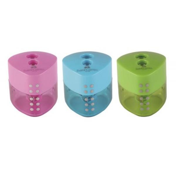Ascutitoare dubla plastic Grip Pastel cu forma ergonomica extindere a conceptului Grip 3 culori pastel foarte atractive Container pentru reziduuri