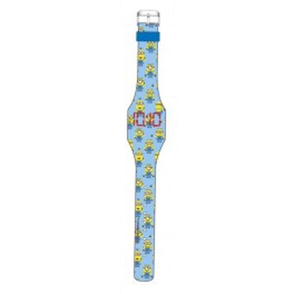 Ceas de mana digital cu afisas led bleu cu personajele MinionsDimensiuni ceascurea 23x3x05cmVarsta recomandata 3