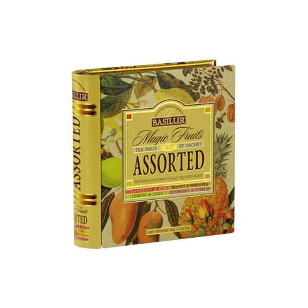 Patru ceaiuri asortate din gama Magic Fruits cate 8 pliculete din fiecareIngrediente 100 ceai negru de Ceylon crescut la inaltime  fructe naturale si arome de capsuni si kiwi  lamaie si lime  zmeura si macese  fructe exotice Ambalaj 32 de pliculete ambalate individual plic in plic x 2g in cutie metalica tip carte
