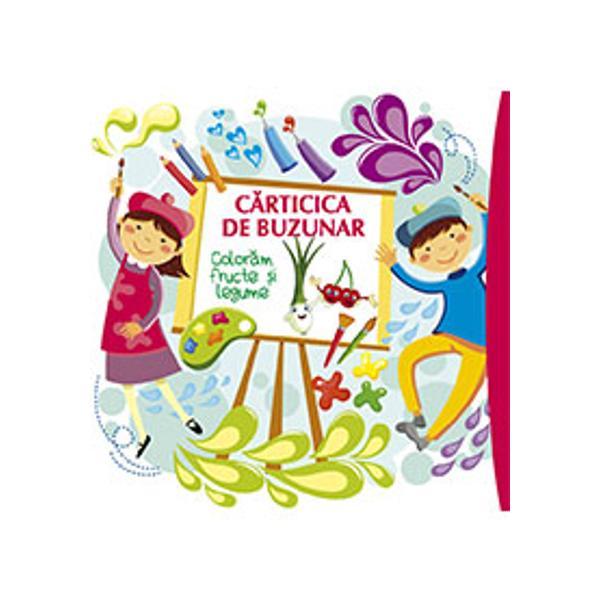 C&259;rticica de buzunar p&259;trat&259; este ideal&259; pentru mânu&539;ele copiilor &537;i numai bun&259; de strecurat în geant&259; când plec&259;m la plimbare Indiferent unde se deschide din c&259;rticic&259; apar fructe zâmbitoare &537;i legume dr&259;g&259;la&537;e dornice s&259; prind&259; culoare Copiii vor fi încânta&539;i de întâlnirea cu vân&259;ta care poart&259; papion ceapa cu m&259;nu&537;i galbene