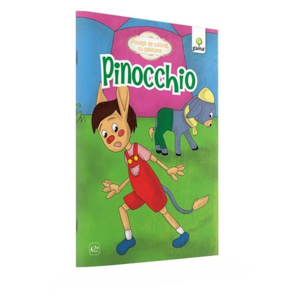 """Cartea de colorat""""Pincchio""""se poate folosi în trei activit&259;&539;i diferite mai întâi citi&539;i povestea apoi colora&539;i scenele preferate iar la final folosi&539;i &537;ablonul inclus pentru a recrea o scen&259; de basm &537;ablonul este deta&537;abil a&537;a încât desenul preferat se poate reface oricând"""