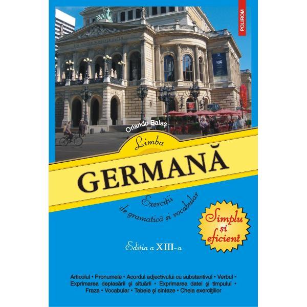 Cartea se adreseaz&259; celor ce doresc s&259;-&537;i perfec&539;ioneze cuno&537;tin&539;ele practice de limba german&259; &537;i poate fi folosit&259; ca material auxiliar în paralel cu orice manual sau curs teoretic Exerci&539;iile vizeaz&259; cele mai importante aspecte de gramatic&259; &537;i vocabular ajutînd la formarea unor reflexe de exprimare corect&259; Gradul lor de dificultate cre&537;te în mod treptat pe parcursul fiec&259;rui capitol &537;i