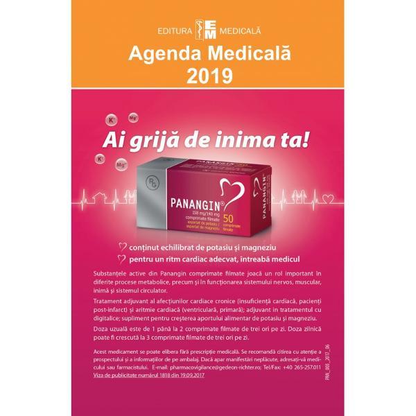 Prezentare Ca în fiecare an apari&539;ia Agendei medicale este un eveniment editorial mult a&537;teptat Aceast&259; ultim&259; edi&539;ie 2019 îmbun&259;t&259;&355;it&259; &537;i ad&259;ugit&259; cuprinde reactualiz&259;ri de ultim&259; or&259; privitoare la medicamentele intrate în uz în România înregistrate &537;i eviden&355;iate cu denumirile comerciale DC precum &351;i monografiile aferente la denumirea comun&259;