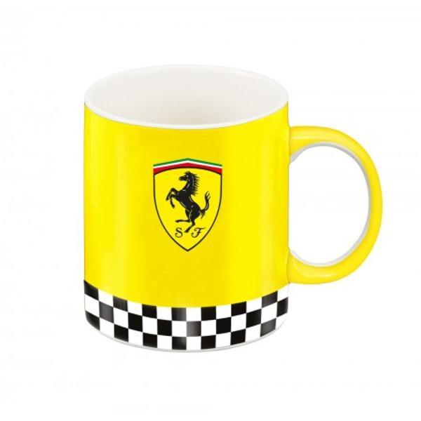 Cana Ferrari galbena 100  portelan pentru un cadou unicAceasta cana este potrivita pentru un cadou atat pentru un coleg sau sef de la birou cat si pentru cei dragi tata frate sot iubit sau copilCana Ferrari galbena este realizata 100  din portelan de cea mai buna calitate Este realizata in conformitate cu normele europene Cana este frumos decorata in nuante de rosu negru si galben Exteriorul canii este integral galben avand si logo-ul Ferrari
