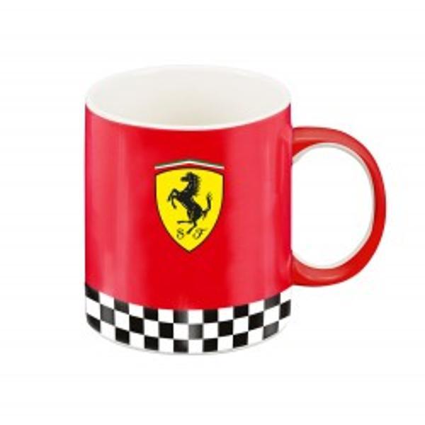 Cana Ferrari rosie este realizata 100  din portelan de cea mai buna calitate Este realizata in conformitate cu normele europene Cana este frumos decorata in nuante de rosu negru si galben Exteriorul canii este integral rosu avand si logo-ul Ferrari iar marginea inferioara a canii este decoratacu o bandadecorativa a steagului de la Formula 1 fiind formata o dunga din patratele negre Prancing Horse simbolul celebrului Ferrari este un cal cabrat negru pe fond galben de