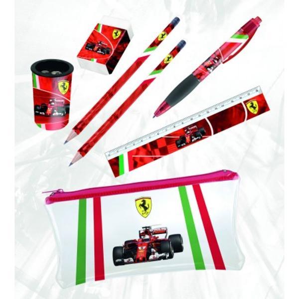 Set rechizite Ferrari - alege azi un cadou unic pentru cei dragi un cadou util dar si placut in acelasi timpSetul de rechizite Ferarri contineSuport plastic tip penar cu inchidere cu fermoar  transparent cu logo-ul Ferrari si o masina de Formula 12 creioane cu logo-ul Ferarri si décor de Formula 11 guma de sters cu un carton de protectie cu logo-ul Ferrari si o masina Ferrari1 ascutitoare rotunda din