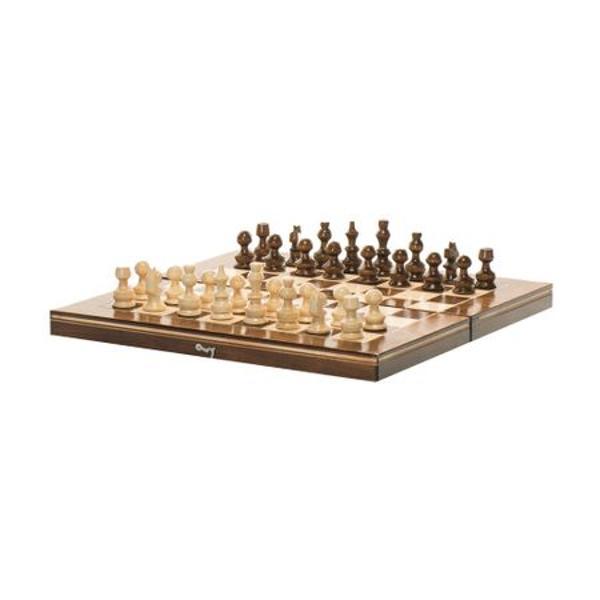Joc 2 in 1 Sah si Table fabricat in Romania Cutia jocului este din lemn masiv lacuit Piesele sunt de asemenea din lemn masiv lacuit Dimensiunea cutiei este 32 x 32 cm Diametrul pieselor este de 24 cm Jocul de Sah contine 32 piese in doua culori Jocul de Table contine 30 piese in doua culori