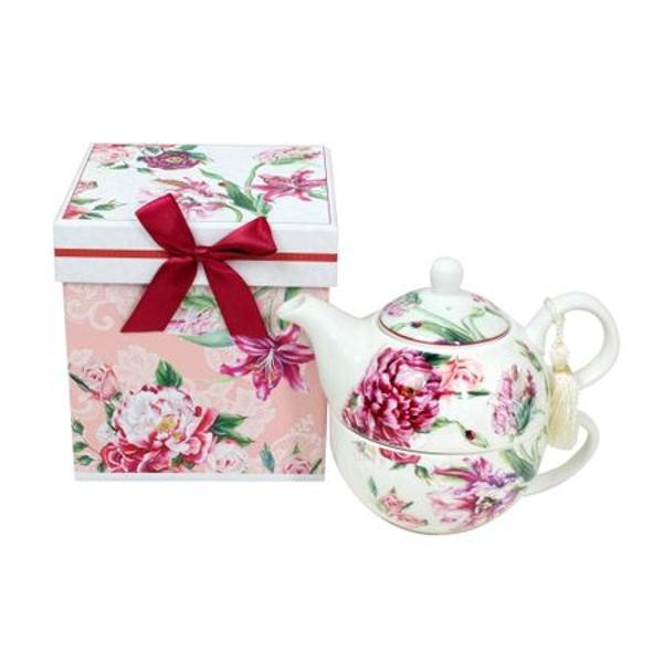 Va propunem o calatorie in lumea ceaiului cu acest set inedit de ceai Fabricat din portelan de inalta calitate setul contine un ceainic cu capac si o ceasca iar designul delicat de pe acesta va aduce cu siguranta un strop de buna dispozitie in casa dumneavoastra Ceasca are o capacitate de 300 de ml iar ceainicul 500 ml astfel incat va puteti bucura de momentele la ceai un timp indelungatLegenda spune ca aparitia unei buburuze este o prevestire a infloririi unei iubiri si ca
