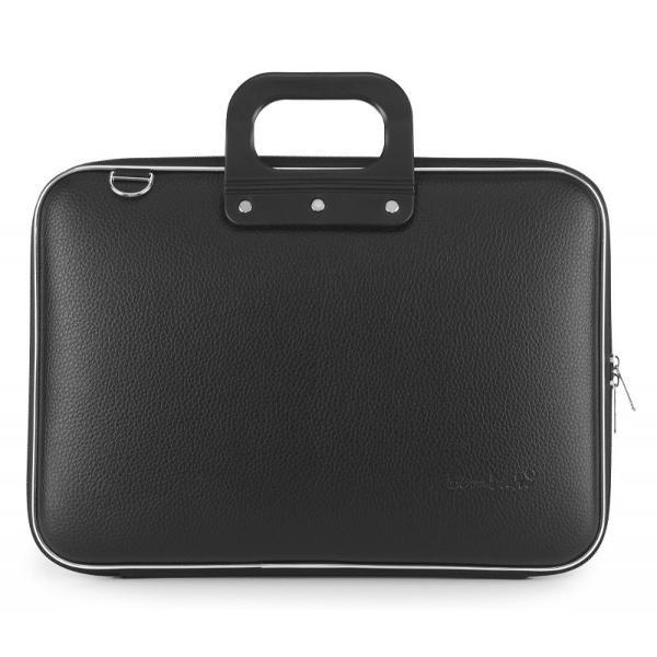 Geanta lux business laptop 156 in Clasic vinil Bombata-Negru&160;este o geanta de marime medie ideala pentru o tableta sau un laptop de 156