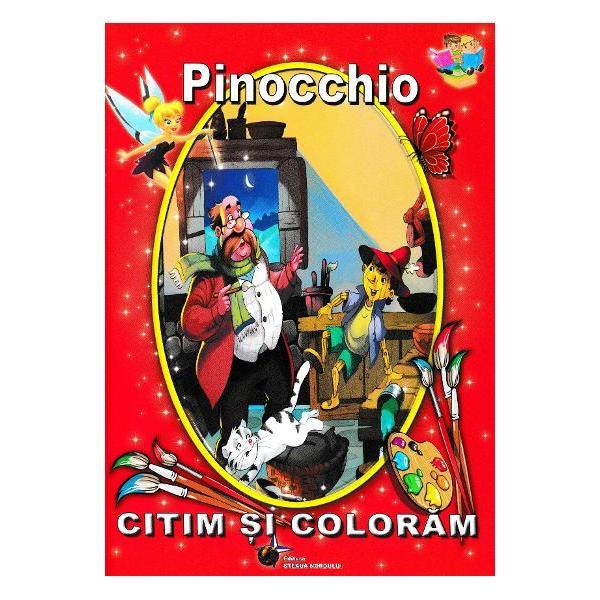 Pinocchio adaptare dupa Carlo Collodi face parte din colectiaCitim si colorama editurii Flamingo Textul redactat cu litere mari de tipar este insotit de ilustratii colorate dar si de imagini necolorate care asteapta sa prinda viata cu ajutorul copiilor Cei mici pot deprinde tainele cititului si se pot distra colorand totul in paginile acestei carti minunate