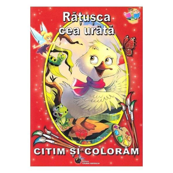 Aceasta carticica ii indeamna pe cei mici sa descopere celebra povesteRatusca cea urata adaptata dupa Hans Christian AndersenMicutii pot citi 15 pagini scrise cu litere mari de tipar si pot colora 7 imagini frumos ilustrate