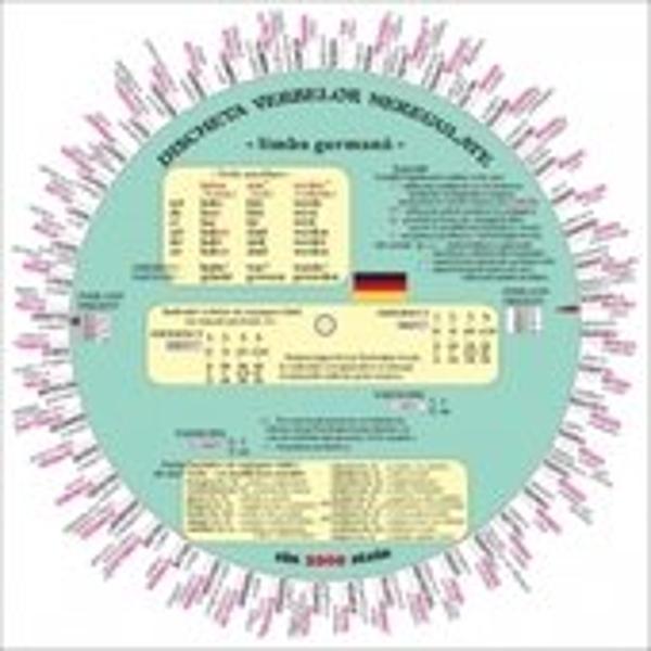 Verbe sistematizate si prezentate prin intermediul unui disc rotitor– 96 de verbe dispuse pe doua coroane circulare incluzând si verbe regulate modele de conjugare;    verbele auxiliare sunt prezentate într-o casetaÎn ferestrele discului pot fi