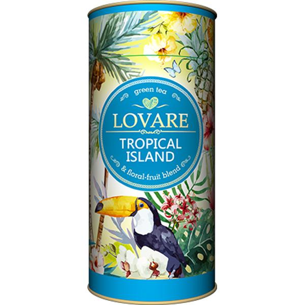 "Tropical Island - Amestec de ceai verde &537;i fructe Frunze de ceai verde chinezesc; coaj&259; de portocale mere flori de g&259;lbenele arom&259; natural&259; ""Tropic"" Are 15 filtre pentru preparare infuzie incluseCutie 80g"