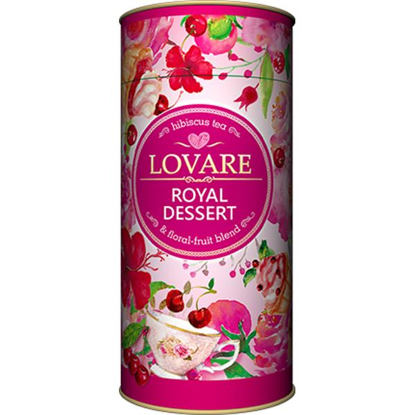 Royal dessert Amestec de hibiscus fructe de p&259;dure petale de flori &537;i fructe Petale de hibiscus sudanez coaj&259; de m&259;ce&537; vi&537;ine ananas coaj&259; de portocale migdale scor&539;i&537;oar&259; banane m&259;run&539;ite petale de flori de g&259;lbenele &537;i trandafir chinezesc cui&537;oare arome naturale de vi&537;ine Are 15 filtre pentru preparare infuzie incluseCutie 80g