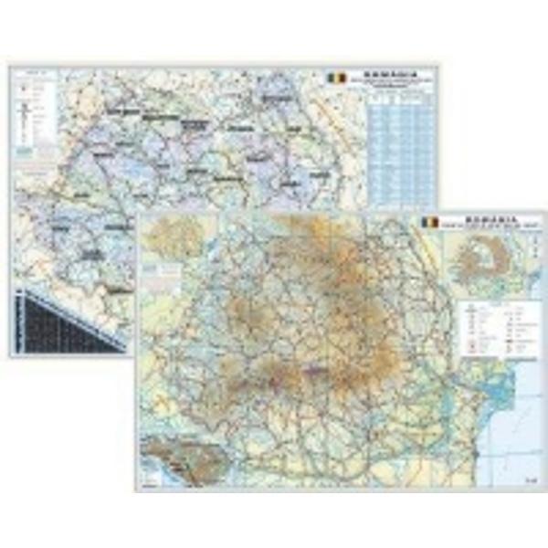 Harta Romania fizica si administrativa