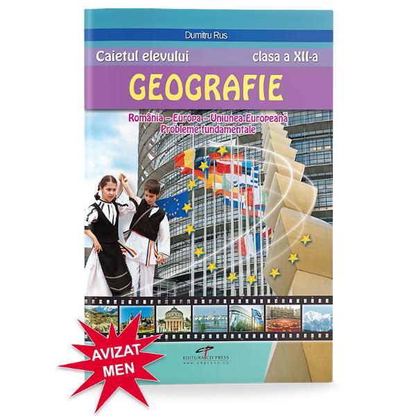 """""""Caietul elevului – GEOGRAFIE clasa a XII-a România Europa Uniunea European&259; Probleme fundamentale"""" este un auxiliar didactic ce se adreseaz&259; deopotriv&259; elevilor &537;i cadrelor didactice care doresc s&259; performeze în actul educa&355;ionalLucrarea are în vedere parcurgerea con&355;inuturilor propuse de programa &351;colar&259; în vigoare fiind de un real ajutor în"""