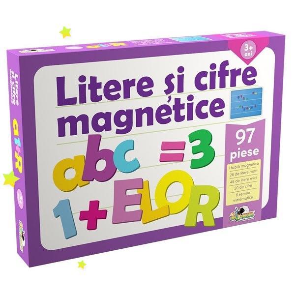 Invata sa scrii sa citesti si sa socotesti aranjand piesele din plastic pe tablita Piesele contin magneti care le permit sa ramana prinse pe tablita chiar acolo unde le asezi dar si sa se desprinda foarte usor Astfel poti sa aranjezi literele mari si mici cifrele si semnele matematice in orice fel si ori de cate ori vrei ca sa scrii cuvinte si enunturi adunari scaderi si alte socoteli