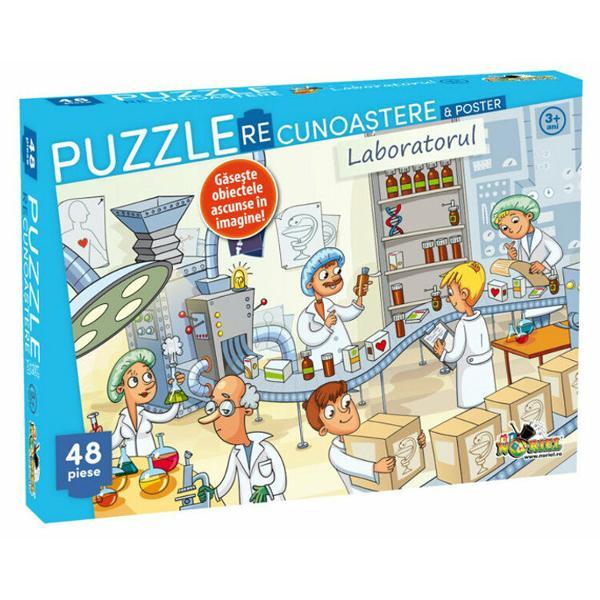 Exploreaza lumea fascinanta a chimiei in laboratorul farmaceutic alaturi de oamenii de stiintaIntinde posterul asambleaza puzzle-ul si gaseste obiectele cheie ascunse in imagineContinut48 de piese de puzzle;poster cu imaginea de pe puzzleAtentie Nu lasati ambalajul produsului la indemana copiilor Indepartati orice ambalaj al produsului inainte de