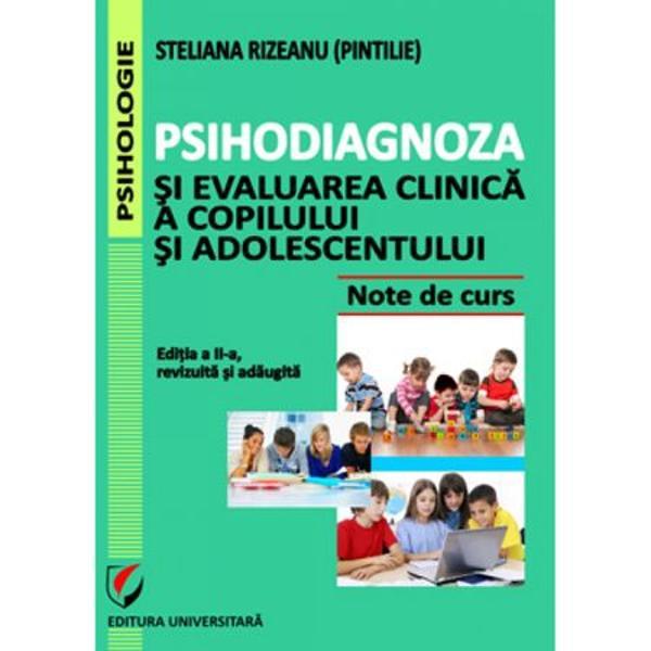Psihodiagnoza si evaluarea clinica a copilului si adolescentului editia a IIa revizuita si adaugita - Steliana RizeanuPsihodiagnosticul clinic vizeaza cunoasterea factorilor psihologici cu relevanta pentru sanatate si boala; aceasta cunoastere se realizeaza prin procesul de evaluare clinica in care se utilizeaza metode precum testarea psihologica interviul clinic etc David 2006Evaluarea psihologica este un demers psihodiagnostic integrativ care