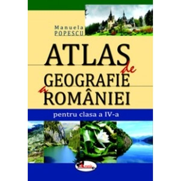 Atlasul de geografie a Romaniei imbina prezentarea grafica a elementelor specifice geografiei Romaniei cu furnizarea unor informatii-text concise si usor de retinut constituind un suport intuitiv care stimuleaza studiul individual
