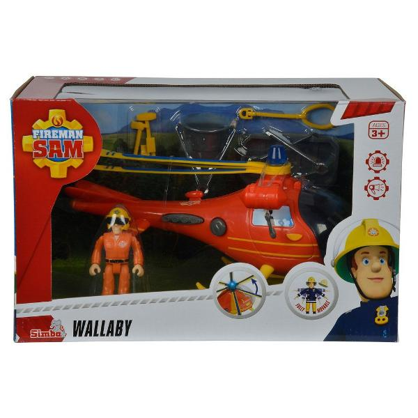 -Pompierul Sam elicopterul Wallaby cu figurina si accesorii -Alaturi de pompierul Sam si prietenii lui poti deveni si tu un adevarat pompier -Setul contine -1 elicopter cu sunetelumini si elice mobila-24 cm -1 figurina-75 cm -Varsta recomandata 3 ani  SIMBA 109251661038 Avertisment Contraindicat copiilor mai mici de 3 ani Produsul poate contine piese mici care se pot inghiti sau inhalaexistand pericolul de sufocare Nu lasati ambalajele jucariilor la indemana copiilorIndepartati