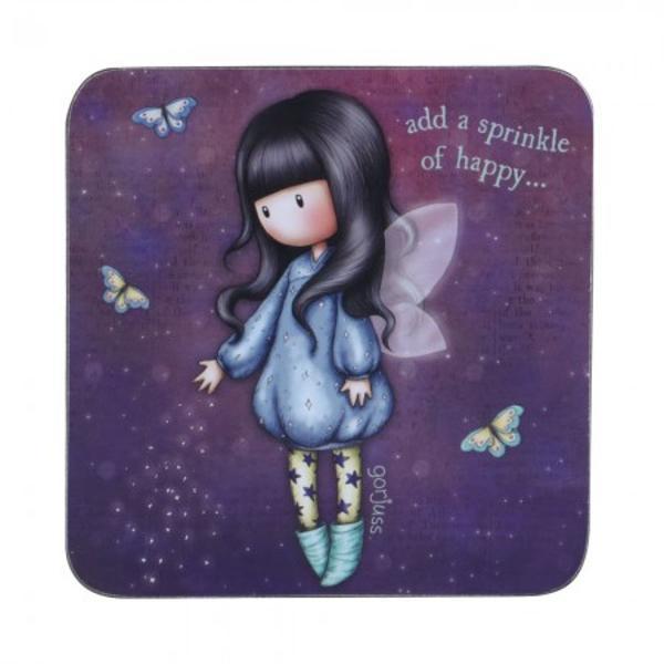 Suport pahar Gorjuss Bubble Fairy un suport de pahar special&160;din gama Gorjuss Alege un decor de vis pentru un suport de pahar din pluta in foma patrata cu micuta Bubble Fairy&160;Material plutaDimensiuni 10x10x05 cm