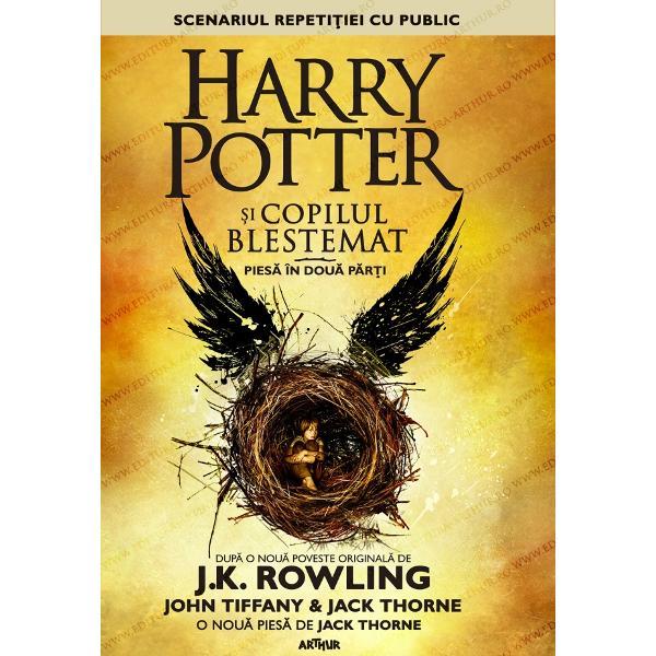 Bazat&259; pe o nou&259; poveste original&259; de JK Rowling John Tiffany &351;i Jack ThorneHarry Potter &351;i copilul blestemateste o nou&259; pies&259; semnat&259; de Jack Thorne Este a opta poveste din seriaHarry Potter&351;i prima jucat&259; oficial pe scen&259; Premiera mondial&259; a piesei a avut loc pe 30 iulie 2016 la un teatru londonez din West End Acest volum