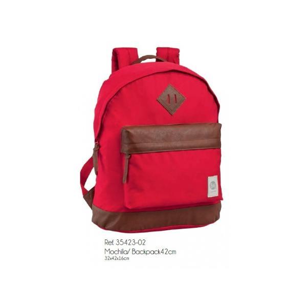Rucsac 42cm Buff - bretele ajustabile material poliester  piele ecologica 1 compartiment dimensiune 32x42x16 cm culoare rosu  gri 1 buzunar maner fixRucsac scoala cu licenta Buff este recomandat pentru copii
