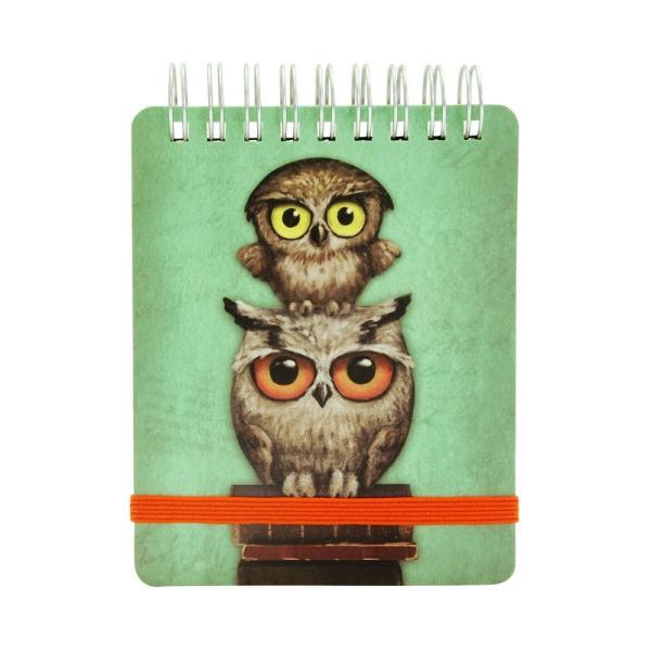 Carnet de buzunar Book OwlsCarnet ideal pentru liste de cumparaturi ganduri si idei creative decorat frumos cu tema Book OwlsDimensiuni 9x1x1 cm