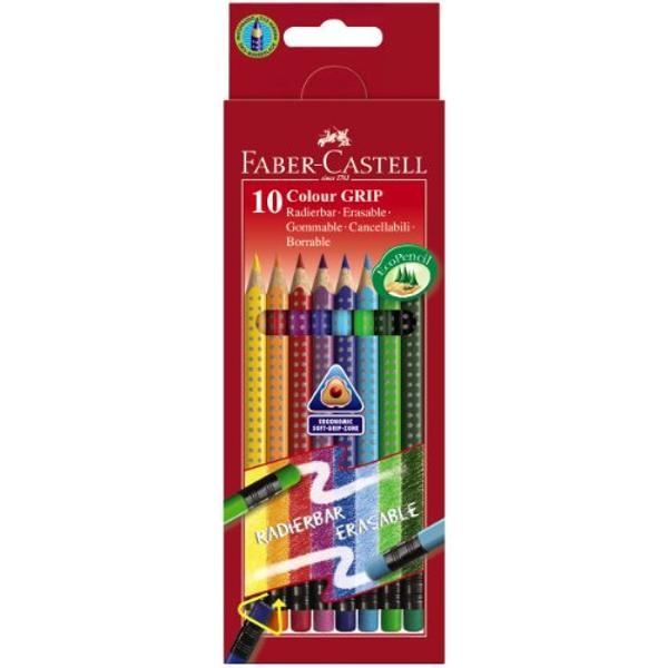 Creioane Colorate Grip 2001 Cu Radiera 10 Buc 116613