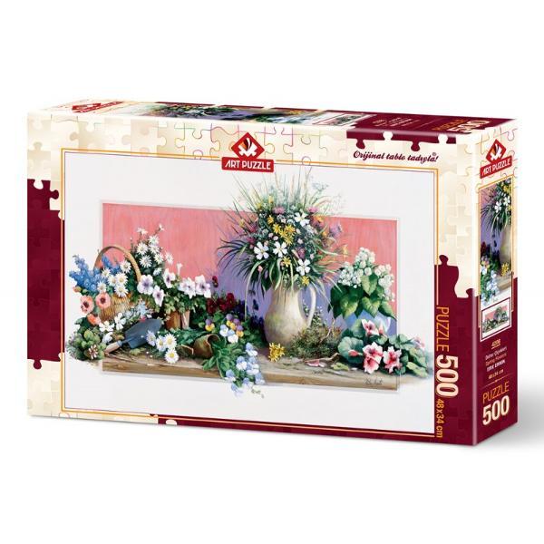 Puzzle Spring Flowers 500 piesePetrece-ti timpul liber intr-un mod constructiv si totodata distractiv Rezolvarea puzzle-urilor te ajuta sa iti dezvolti noi aptitudiniCaracteristiciNumar piese 500Material CartonTematica ArtaDimensiune puzzle 48 x 34 cmDimensiune cutie 335 x 235 x 45 cmAtentionare Produsul este contraindicat copiilor sub varsta de 3 ani deoarece poate contine piese mici care pot fi inghitite sau inhalate existand pericolul de sufocare  Va rugam NU