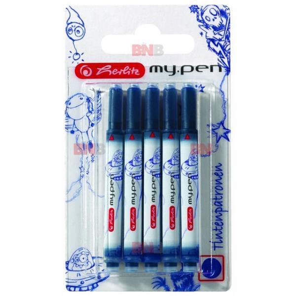 Patroane Herlitz pentru stilourile My Pen Culoare cerneala albastru Ambalare 5 patroaneset