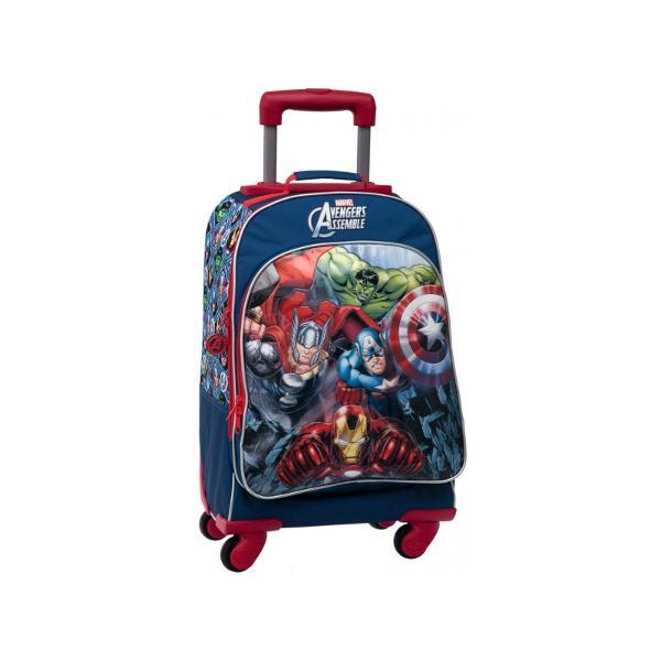 Troler scoala Avengers imprimeu cu personajele din Avengers dimensiune 33x44x21 cm confectionat din poliester si PVC maner fix  maner telescopic 4 roti 1 compartiment 1 buzunar exteriorTroler cu licenta Avengers este recomandat pentru copii