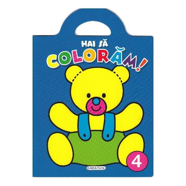 Carticica 4 din seriaHai sa coloramcontine ilustratii mari cu contur precis si gros pentru a fi usor de colorat si de cei mai mici In plus fiecare ilustratie este insotita de un desen gata colorat pentru a sugera nuantele in care poate fi colorata imaginea