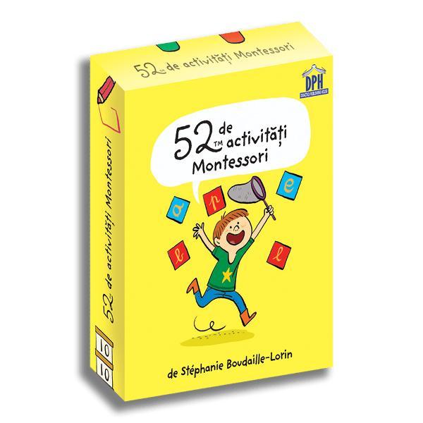"""Aceste 52 de jetoane ilustrate îl vor ajuta pe copil """"s&259; fac&259; singur"""" Pentru fiecare modul montessorian via&539;&259; practic&259; matematic&259; limbaj &537;i educa&539;ie senzorial&259; reg&259;si&539;i activit&259;&539;i u&537;or de pus în practic&259; - aniversarea în stil Montessori - sacul misterios - dict&259;ri mute - m&259;rgele - cutii sonore - axa timpului Ve&539;i petrece"""