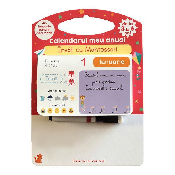 Calendar cu continut dupa modelul Montessori Contine o carioca cu burete de sters zona speciala de scris  Specifica&539;ii Pagini 640 M&259;rimi Suport carton plastifiat18 x 25 cm File calendar9 x 14 cm Con&355;ine carioc&259;