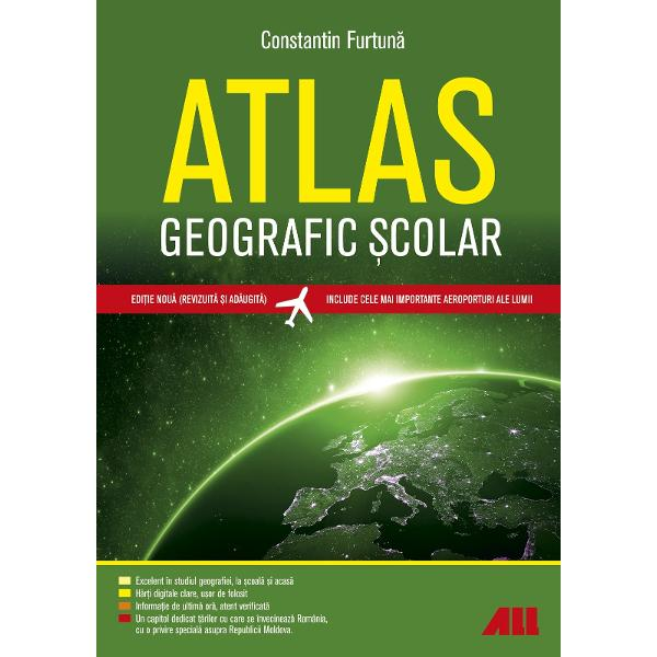 Atlasul geografic &537;colar al lumiirealizat de Constantin Furtun&259; se remarc&259; drept singurul atlas de acest tip din România Edi&539;ia a V-a este revizuit&259; &537;i ad&259;ugit&259; cu informa&539;ii esen&539;iale disponibile în 2019Con&539;inutul a fost creat în acord cu programa &537;colar&259; &537;i se adreseaz&259; cadrelor didactice de specialitate elevilor &537;i studen&539;ilor Mai mult