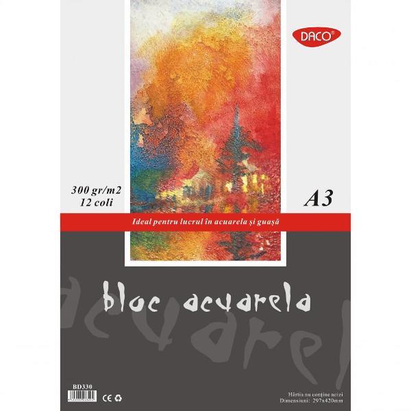 bloc pentru acuarela A3• 12 file hârtie special&259;• 300 grmp