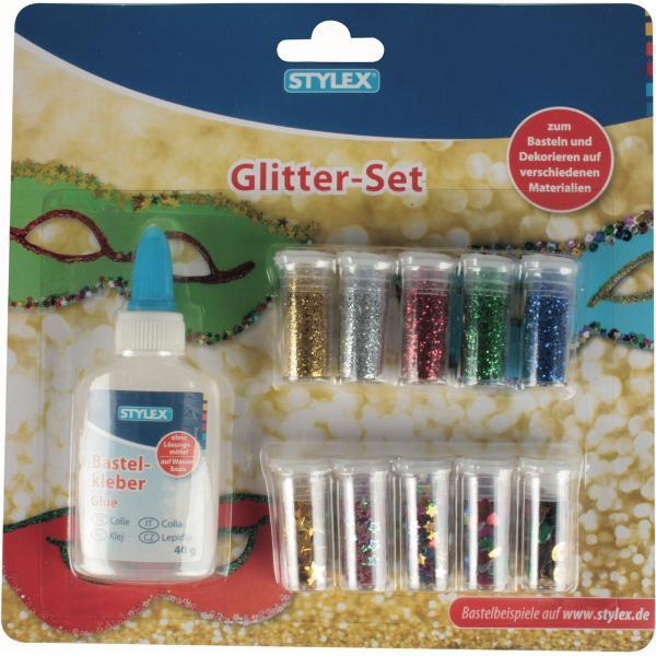 Set glitter Stylex pentru diverse activitati de decorare Contine5 tubulete glitter-sclipici praf5 tubulete cu stelute metalizate1 lipici lichid 40 grProdus de
