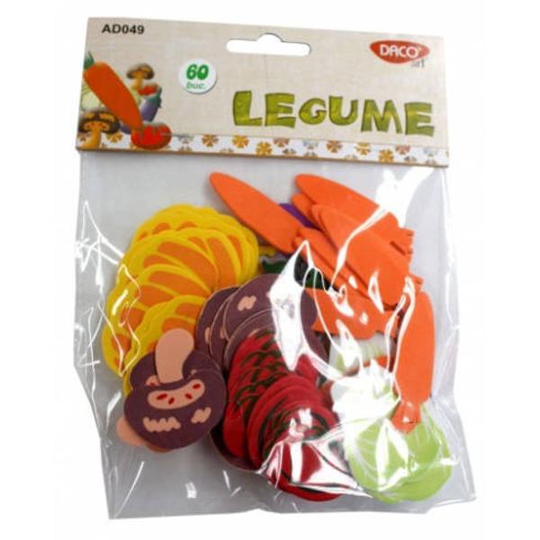 60 bucati legume; material - spuma coala gumata; dimensiuni variabile